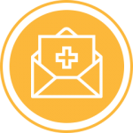 Yellow medical envelope icon