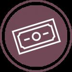 Purple dollar bill icon
