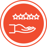 Red stars and hand icon