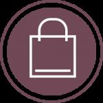 Purple shopping bag icon