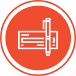 Red pen and check icon